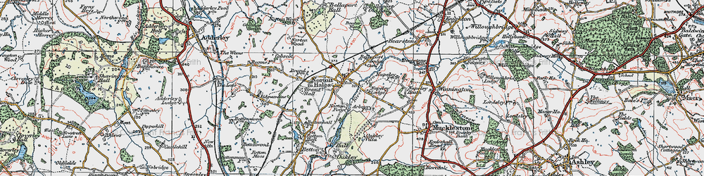 Old map of Norton in Hales in 1921