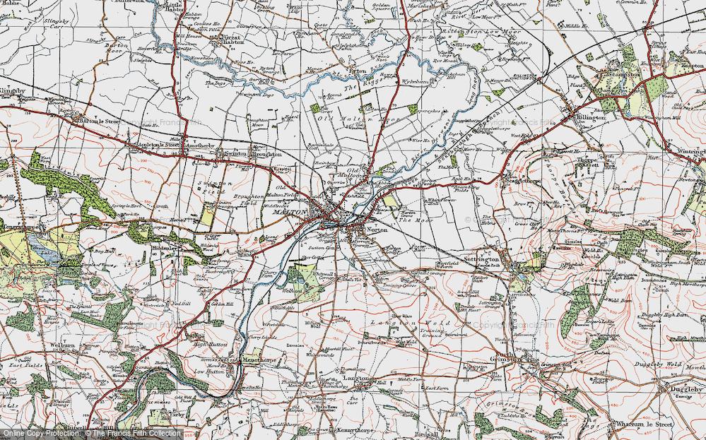 Old Map of Norton-on-Derwent, 1924 in 1924