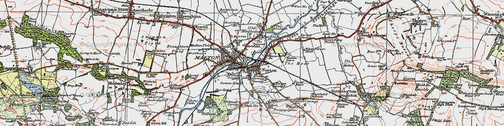 Old map of Norton-on-Derwent in 1924