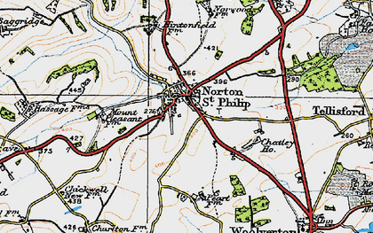 Old map of Norton St Philip in 1919