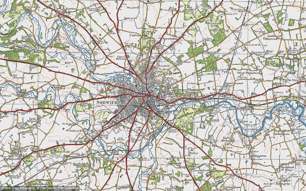 Map Of Norwich Map of Norwich, 1922   Francis Frith Map Of Norwich