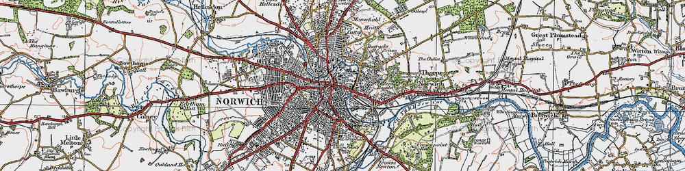 Old map of Norwich in 1922