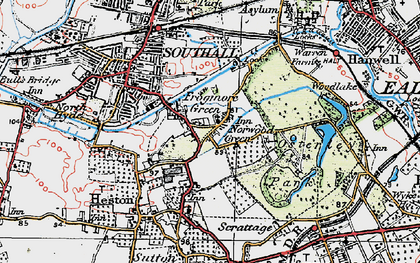 Old map of Norwood Green in 1920
