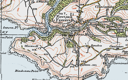 Old map of Worswell Barton in 1919