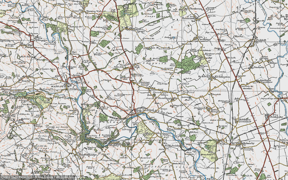 Old Map of Historic Map covering Langwith Ho in 1925