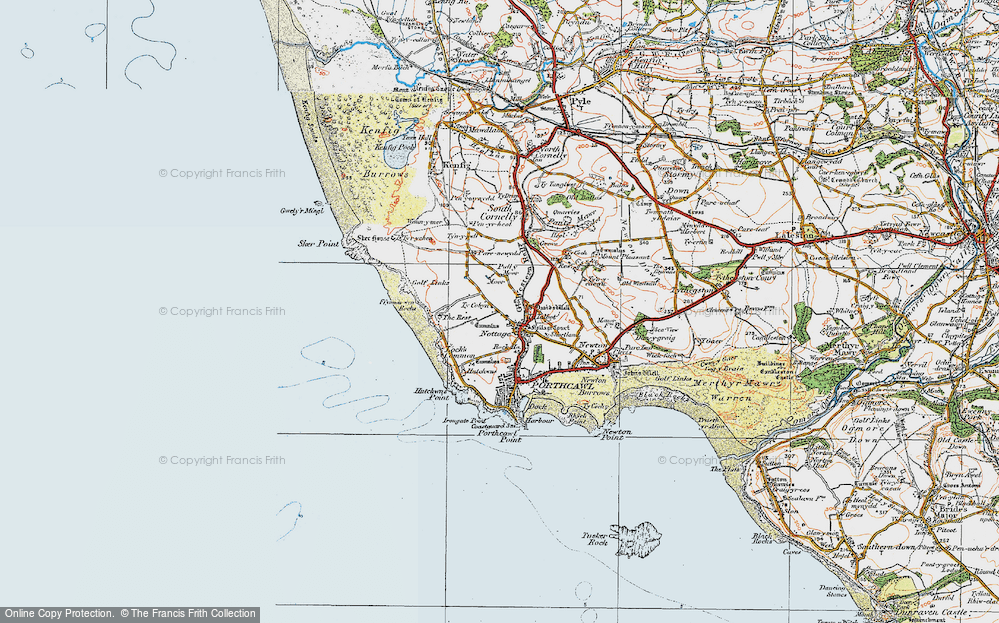 Old Map of Nottage, 1922 in 1922