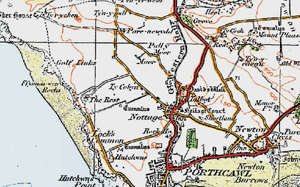 Old map of Nottage in 1922