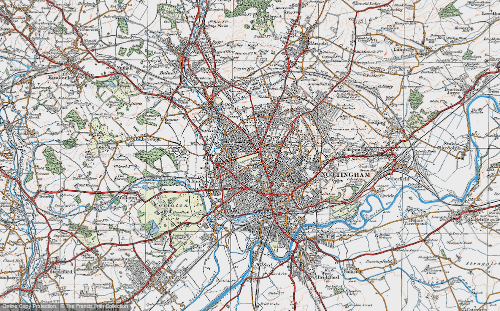 Old Map of Nottingham, 1921 in 1921