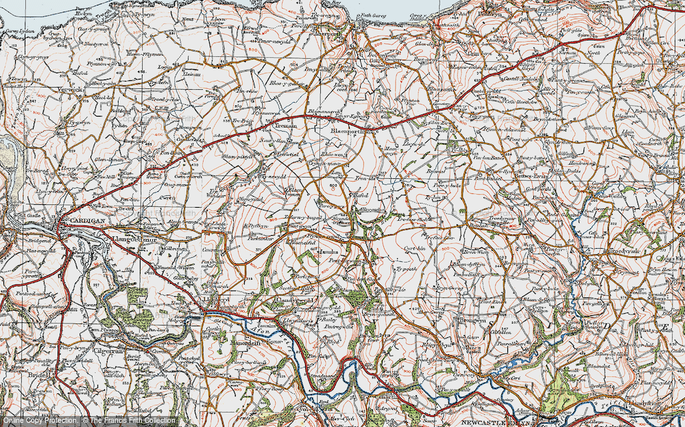Old Map of Historic Map covering Allt-y-cadno in 1923