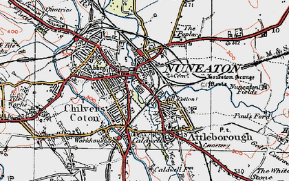 Old map of Nuneaton in 1920