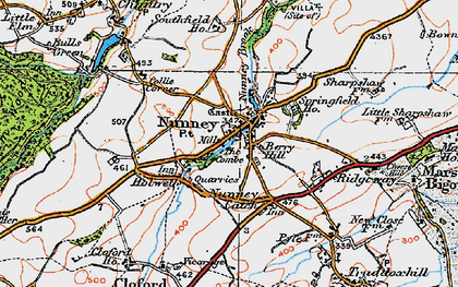 Old map of Nunney in 1919
