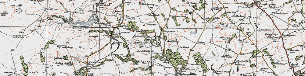 Old map of Wingates Wholme in 1925