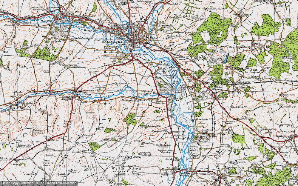 Old Map of Historic Map covering Clearbury Ring in 1919