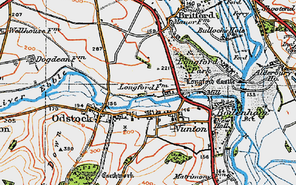 Old map of Nunton in 1919
