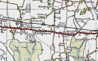 Old map of Nutbourne in 1919