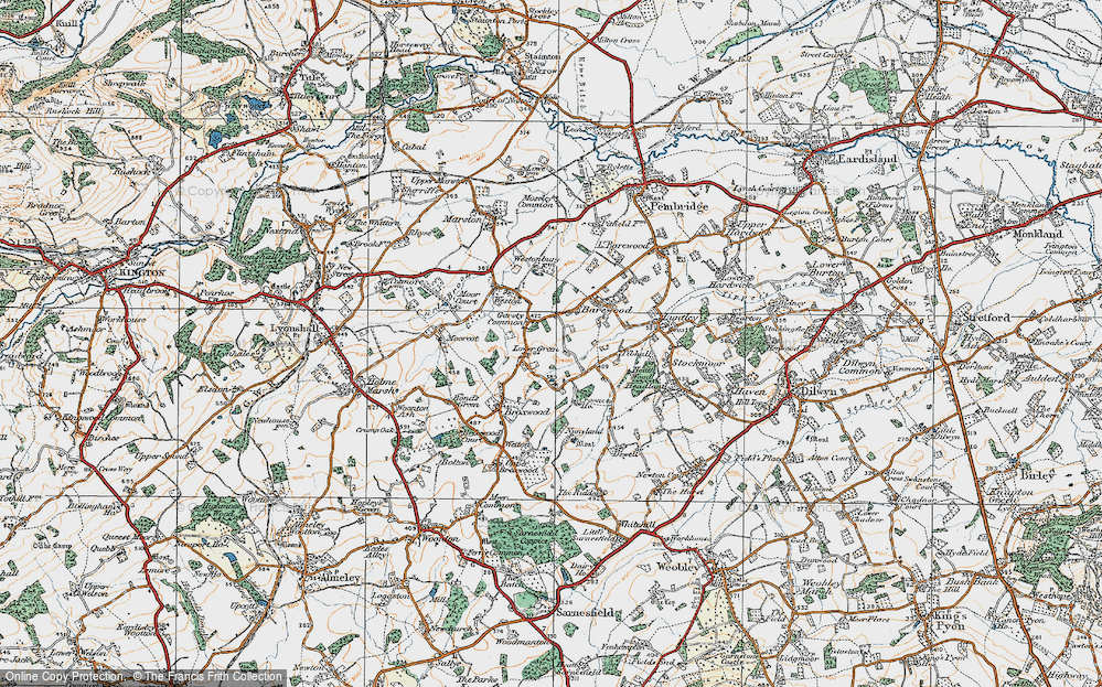 Old Map of Historic Map covering Tibhall in 1920