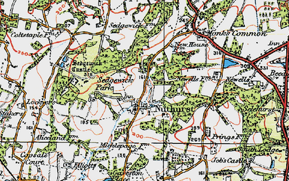Old map of Nuthurst in 1920