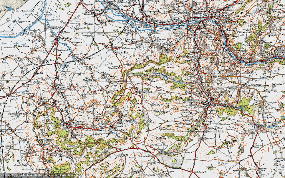 Old Map of Historic Map covering Woodchester Park in 1919
