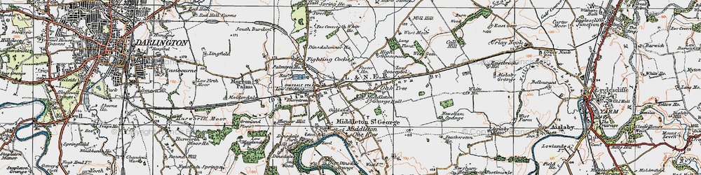 Old map of Durham Tees Valley Airport in 1925