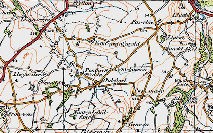 Old map of Oakford in 1923