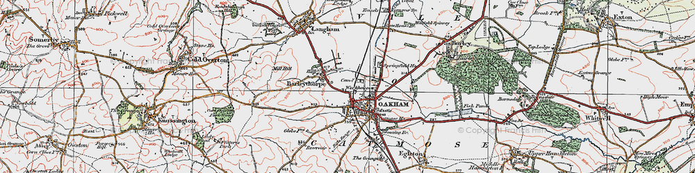 Old map of Oakham in 1921
