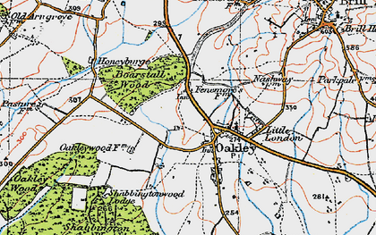 Old map of Oakley in 1919