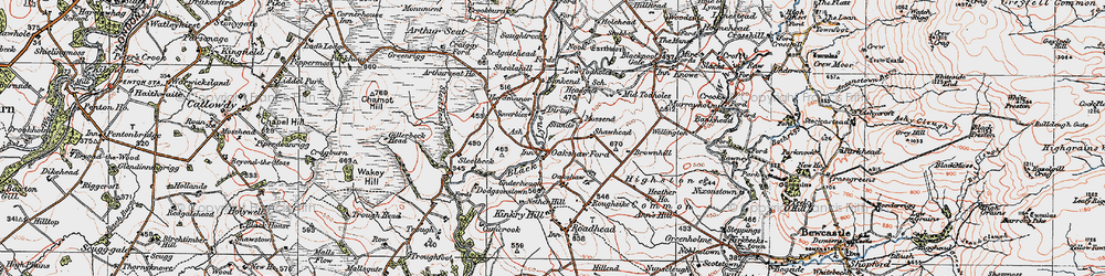 Old map of Woodside in 1925