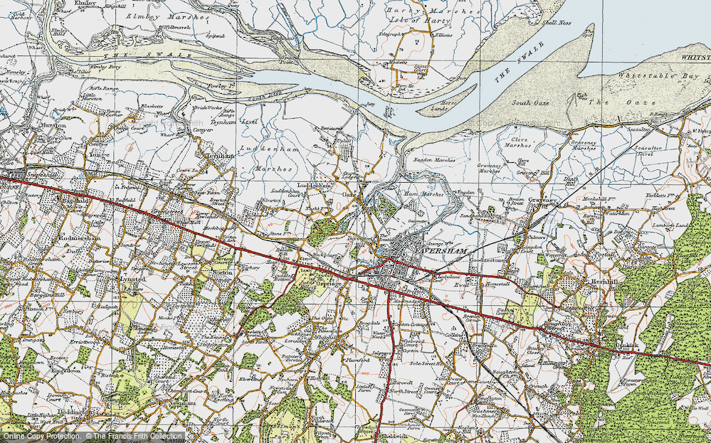 Old Map of Oare, 1921 in 1921