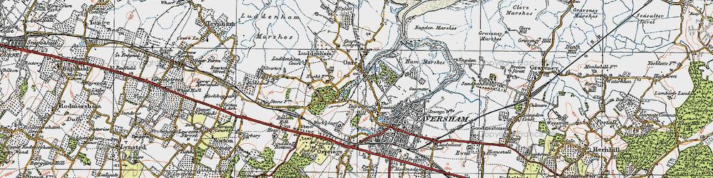 Old map of Oare in 1921