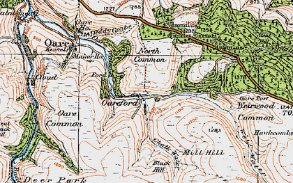 Old map of Badgworthy Water in 1919