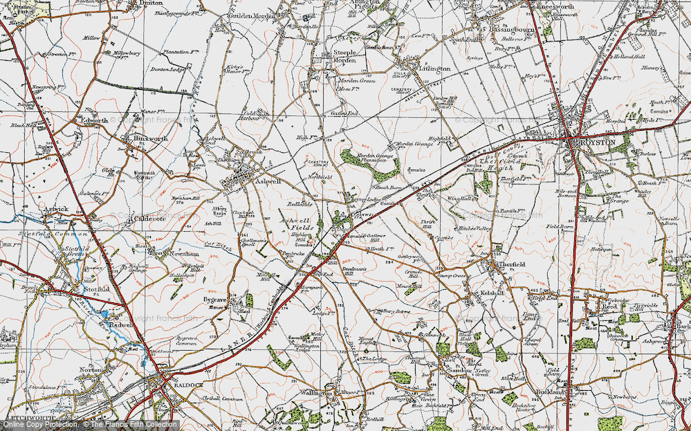 Old Map of Historic Map covering Ashwell & Morden Sta in 1919