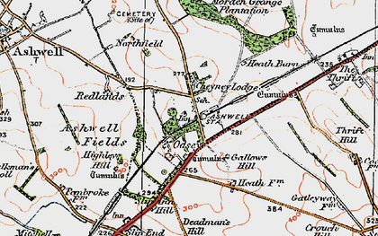 Old map of Ashwell & Morden Sta in 1919