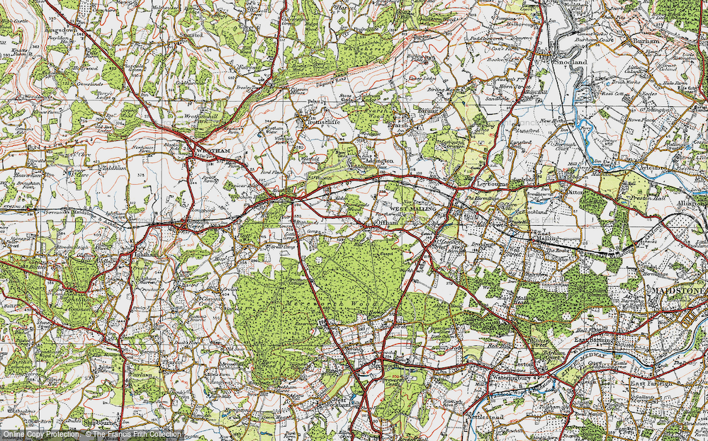 Old Map of Historic Map covering Aldon in 1920