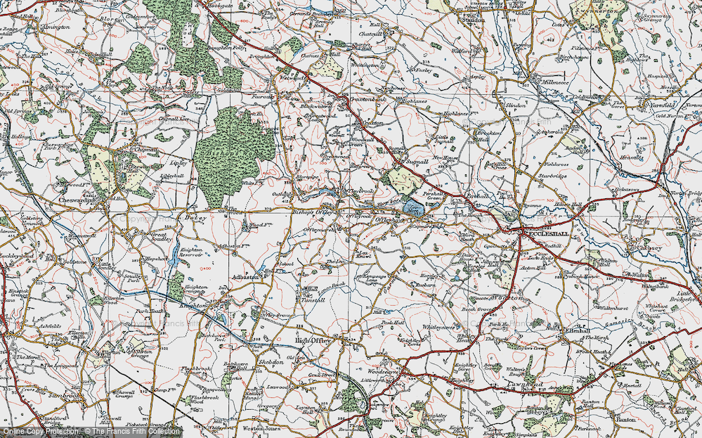 Old Map of Historic Map covering Lea Knowl in 1921