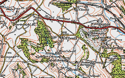 Old map of Offwell in 1919