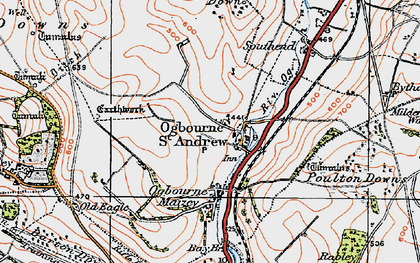 Old map of Ogbourne St Andrew in 1919