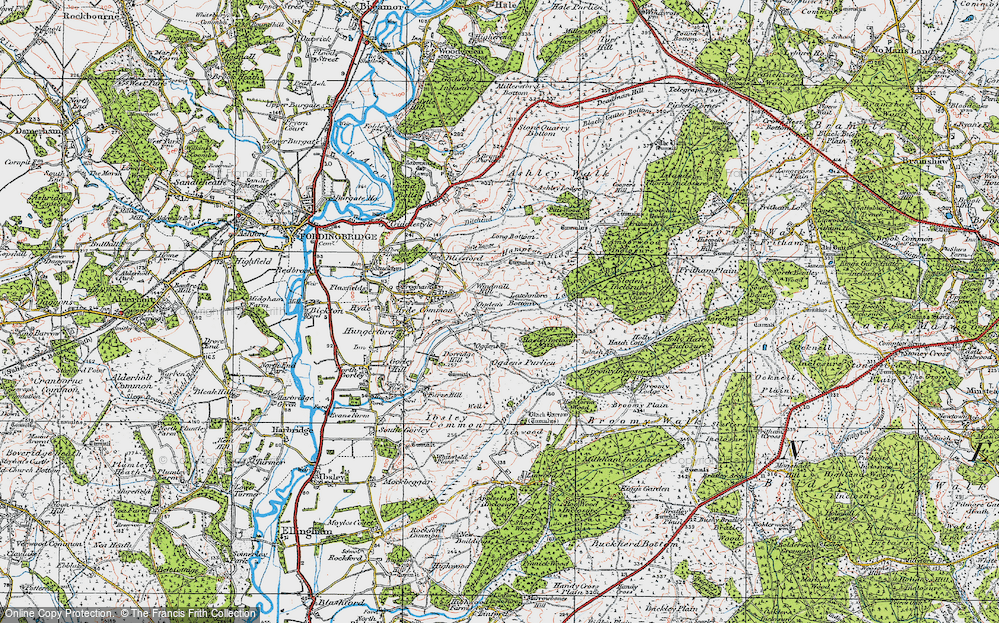 Old Map of Historic Map covering Alderhill Inclosure in 1919