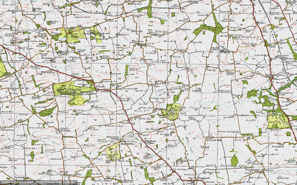 Old Map of Ogle, 1925 in 1925