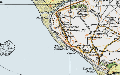 Old map of Ogmore-by-Sea in 1922