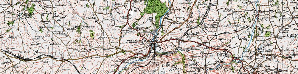 Old map of Okehampton in 1919