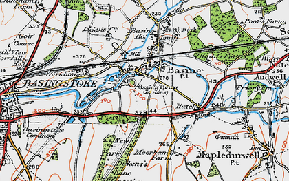 Old map of Old Basing in 1919