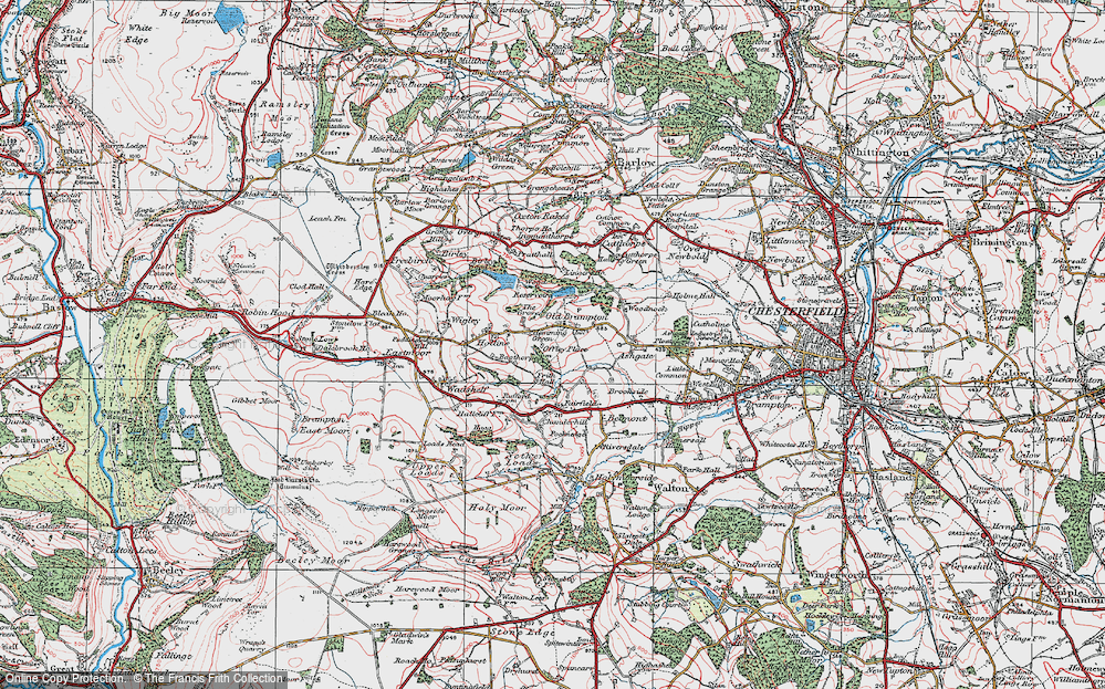 Old Map of Historic Map covering Linacre Resrs in 1923