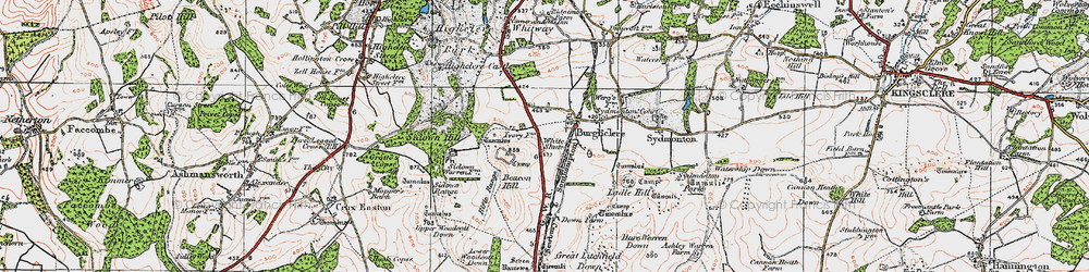 Old map of Old Burghclere in 1919