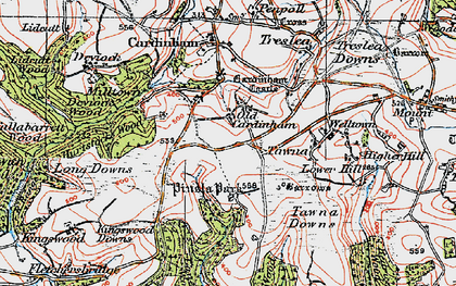 Old map of Old Cardinham Castle in 1919