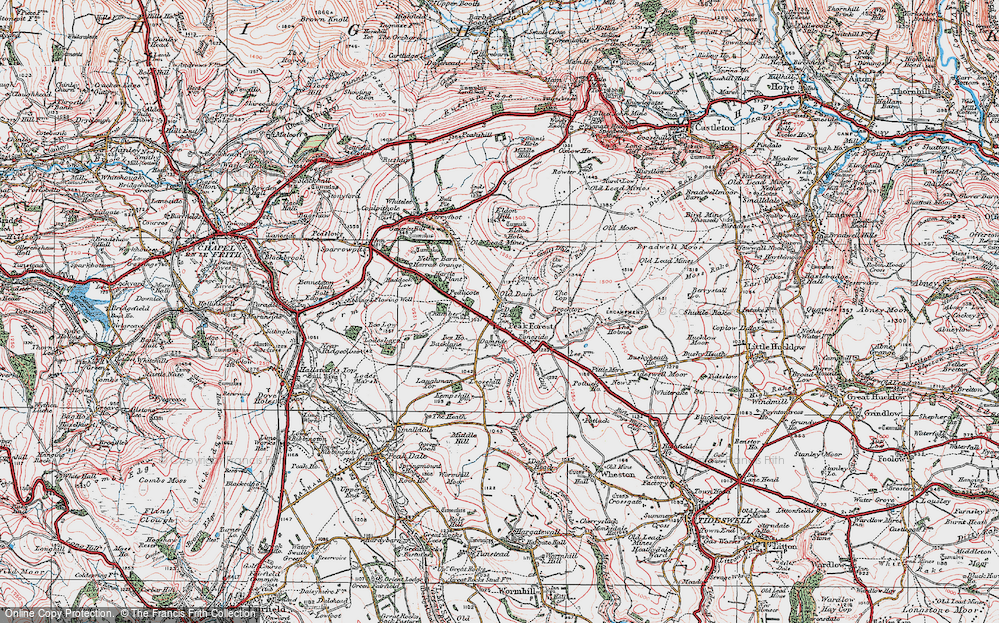 Old Map of Historic Map covering Laughman Tor in 1923