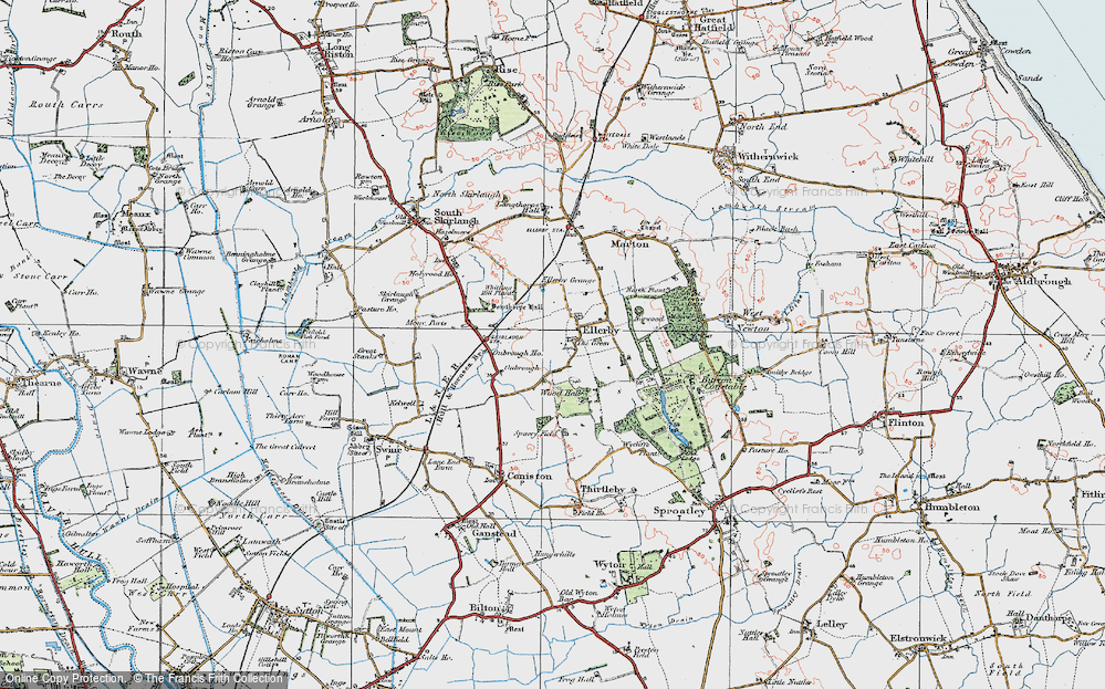 Old Map of Historic Map covering Wood Hall in 1924