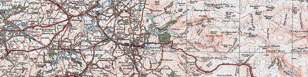 Old map of Yellowslacks Brook in 1924