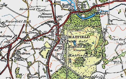 Old map of Old Hatfield in 1920