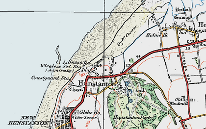 Old map of Old Hunstanton in 1922