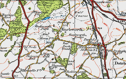 Old map of Old Knebworth in 1920